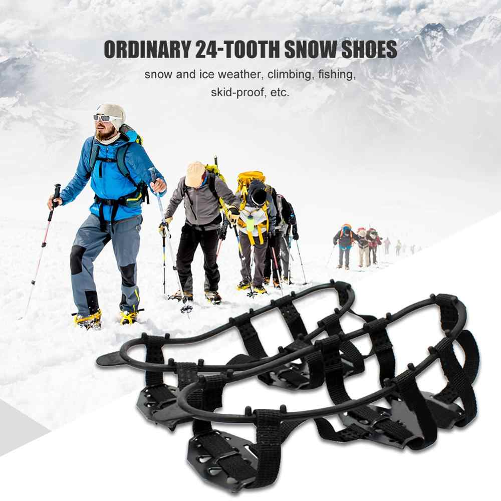 1pair 24 Teeth Fishing Ice Mud Snow Shoe Spiked Grips Cleats Crampons Winter Climbing Camping Anti Slip Shoes Cover New Arrival