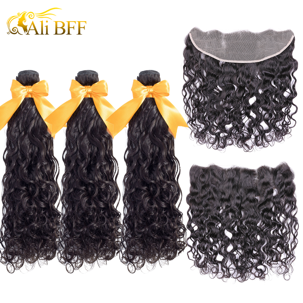 ALI BFF Hair Brazilian Water Wave Bundles With Closure Remy Hair Lace Frontal With Bundles Deal Human Hair Bundles With Frontal