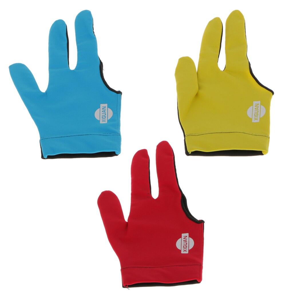 Professional Stretch Nylon Elastic Nylon  Three Finger RIGHT LEFT Hand Snooker Billiard Table Cue Pool Glove
