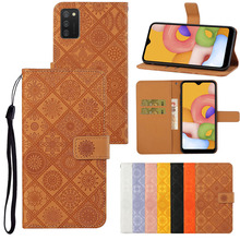 Phone-Case Etui Samsung A02s-Cover Flip for Coque Galaxy Ethnic-Style Casa Retro