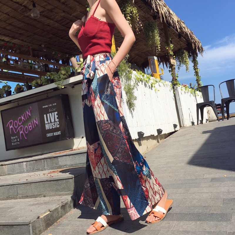 Photo Shoot Beach Shorts Women's Seaside Holiday Loose Pants Culottes Summer Thailand Ethnic-Style Bohemian Printed Long Pants