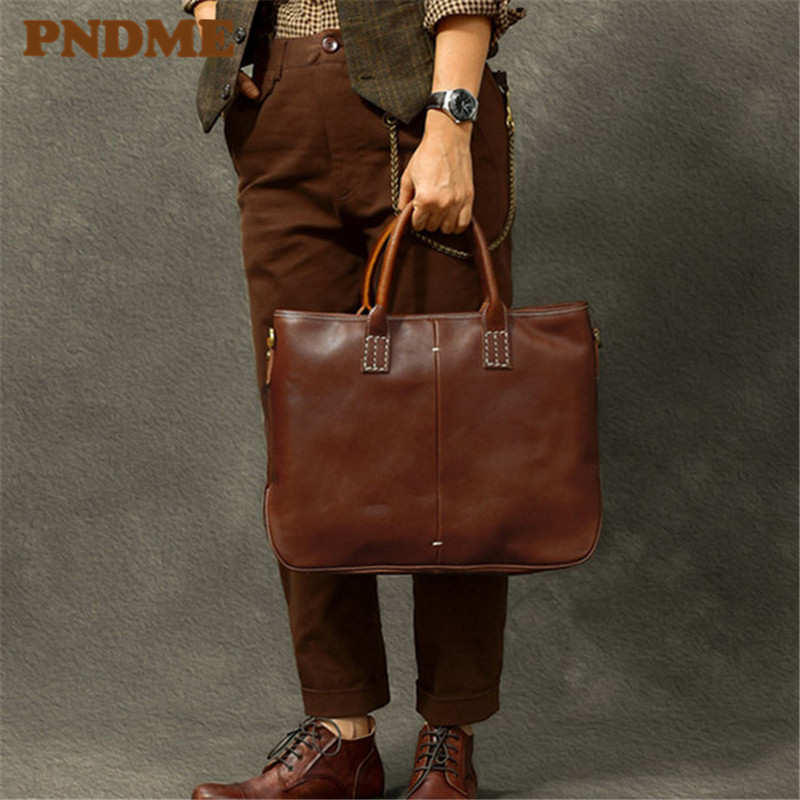 PNDME Business Handmade Genuine Leather Men's Briefcase Vintage Casual First Layer Cowhide Large Laptop Shoulder Bags Satchel