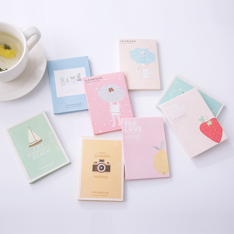 1Set papers makeup cleansing oil absorbing face paper korea cute cartoon absorb Facial Cleanser Face Tools image