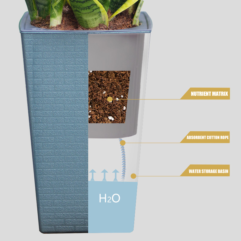 Высококачественный кирпич узор офис цветок горшок имитация металл пластик цветок горшок квадрат и высокий тип для садоводства горшках растения