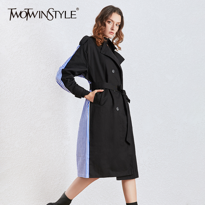 TWOTWINSTYLE Elegant Striped Hit Color Women Wind Coat Lapel Collar Long Sleeve High Waist Lace Up Dresses Jackets 2020 Clothing
