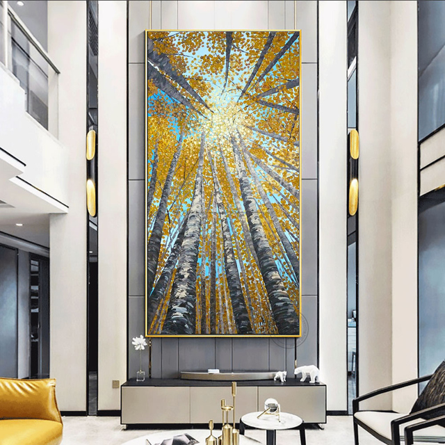 Large Vertical modern painting decorative pictures abstract art acrylic landscape painting canvas pictures for living room wall