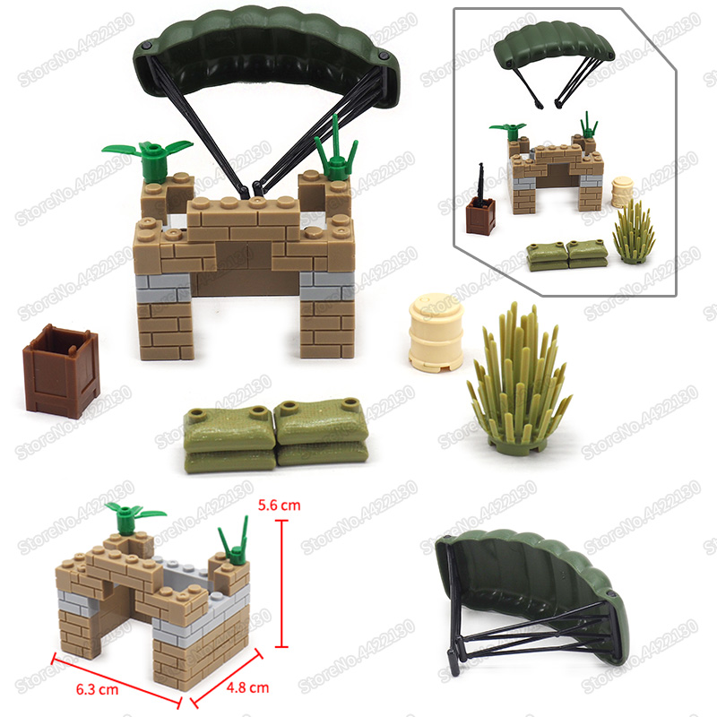 Military Battlefield Support Landing Building Block Assemble Model ww2 Moc Soldier Figures Weapons Child Christmas Gift Toys
