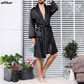 Мужские черные Lounge одежда для сна ночная рубашка из искусственного шелка для мужчин комфорт шелковистые халаты благородный халат для мужчи...