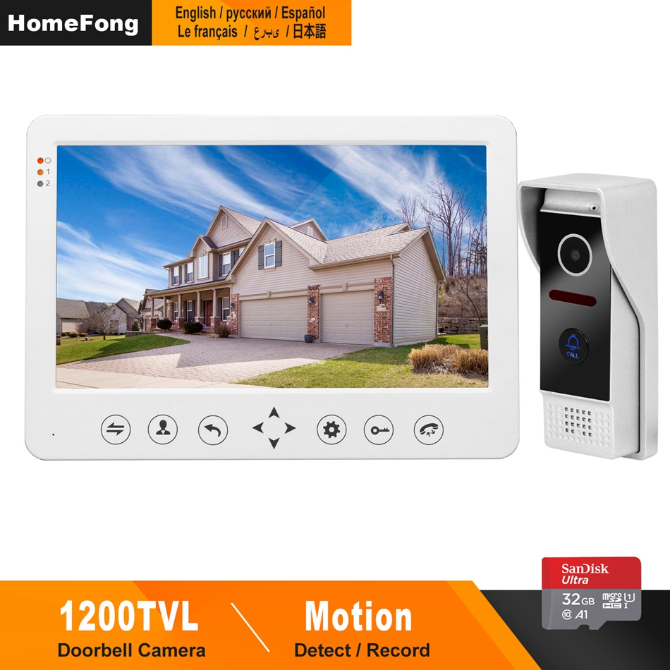 HomeFong Video Intercom Doorbell 1200TVL IR Camera HD Monitor With 16G Memory Card Support Unlock CCTV Videocitofono 10 Pollici