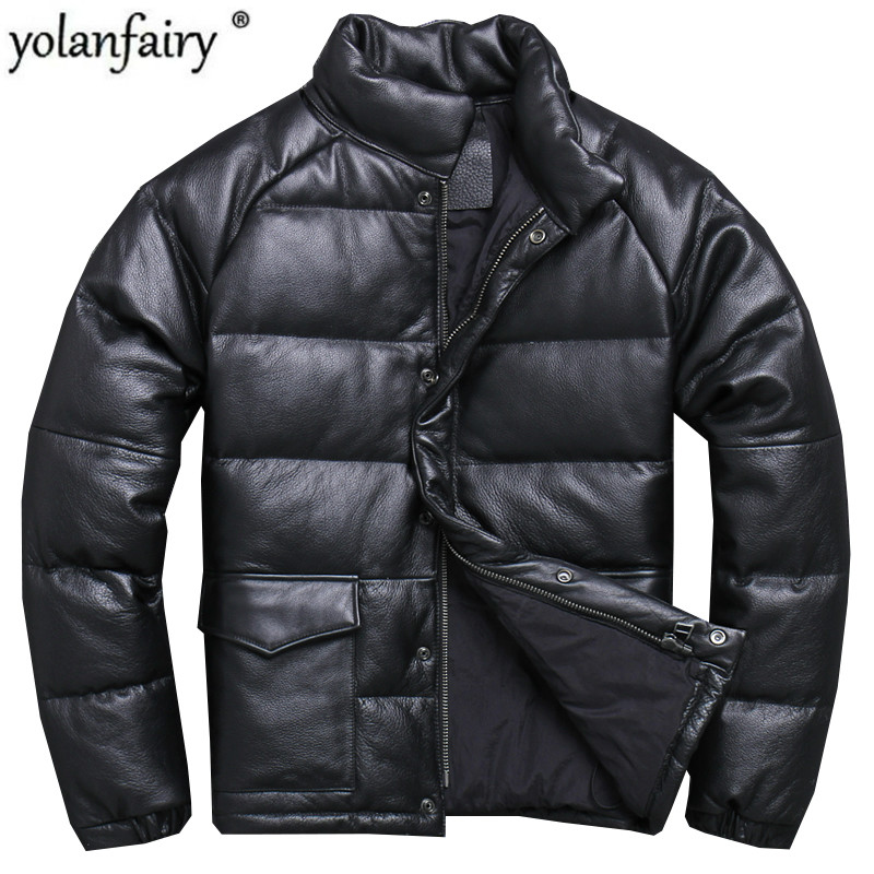 Genuine Leather Jacket Men Real Cow Leather Winter Coat Men Slim Duck Down Coat for Mens Clothing Jaqueta Masculino Couro YY762