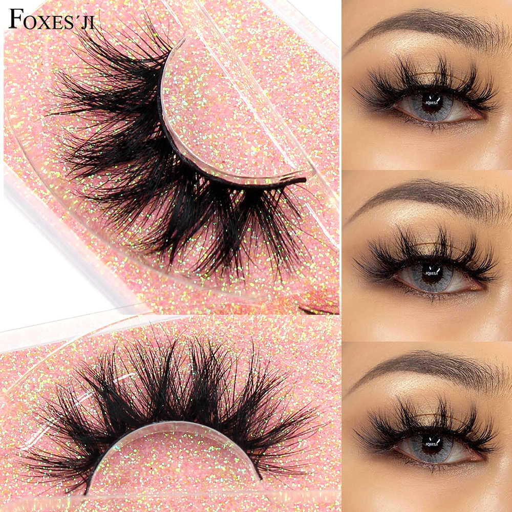 FOXESJI Make-Up Wimpern 3D Nerz Wimpern Flauschigen Weichen Wispy Volumen Natürliche lange Quer Falsche Wimpern Wimpern Reusable Wimpern