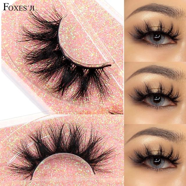 FOXESJI Makeup Eyelashes 3D Mink Lashes Fluffy Soft Wispy Volume Natural long Cross False Eyelashes Eye Lashes Reusable Eyelash