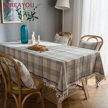Manteles de mesa Vintage, mantel de rejilla Rectangular con borlas bordadas para el hogar, Picnic, cocina, comedor, mantel antimancha