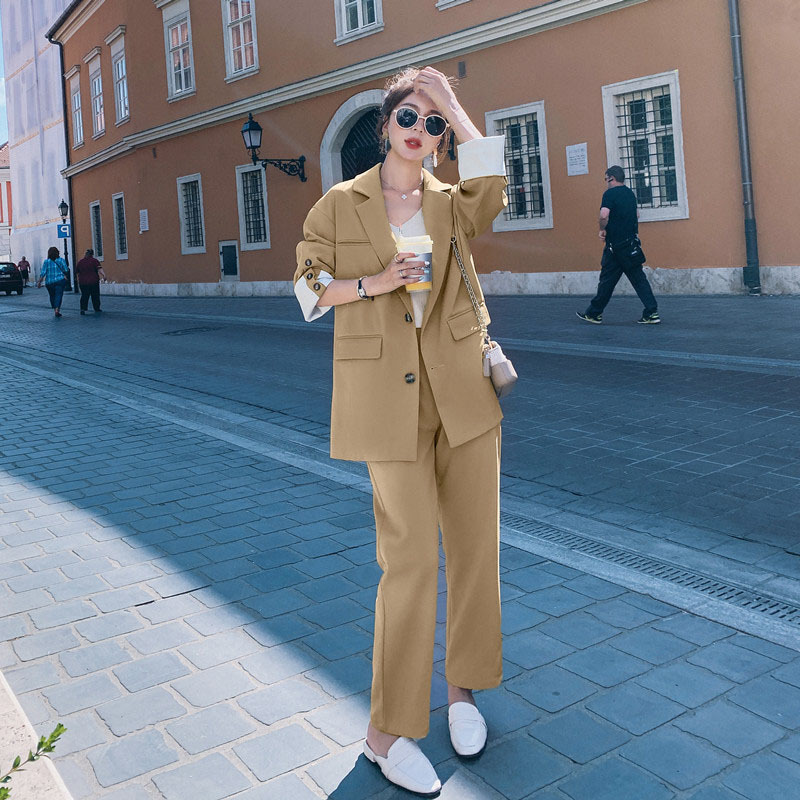 High Quality Women's Suit Two-piece 2019 New Autumn Fashion Loose Long-sleeved Ladies Jacket Blazer Casual Trousers Suit Female