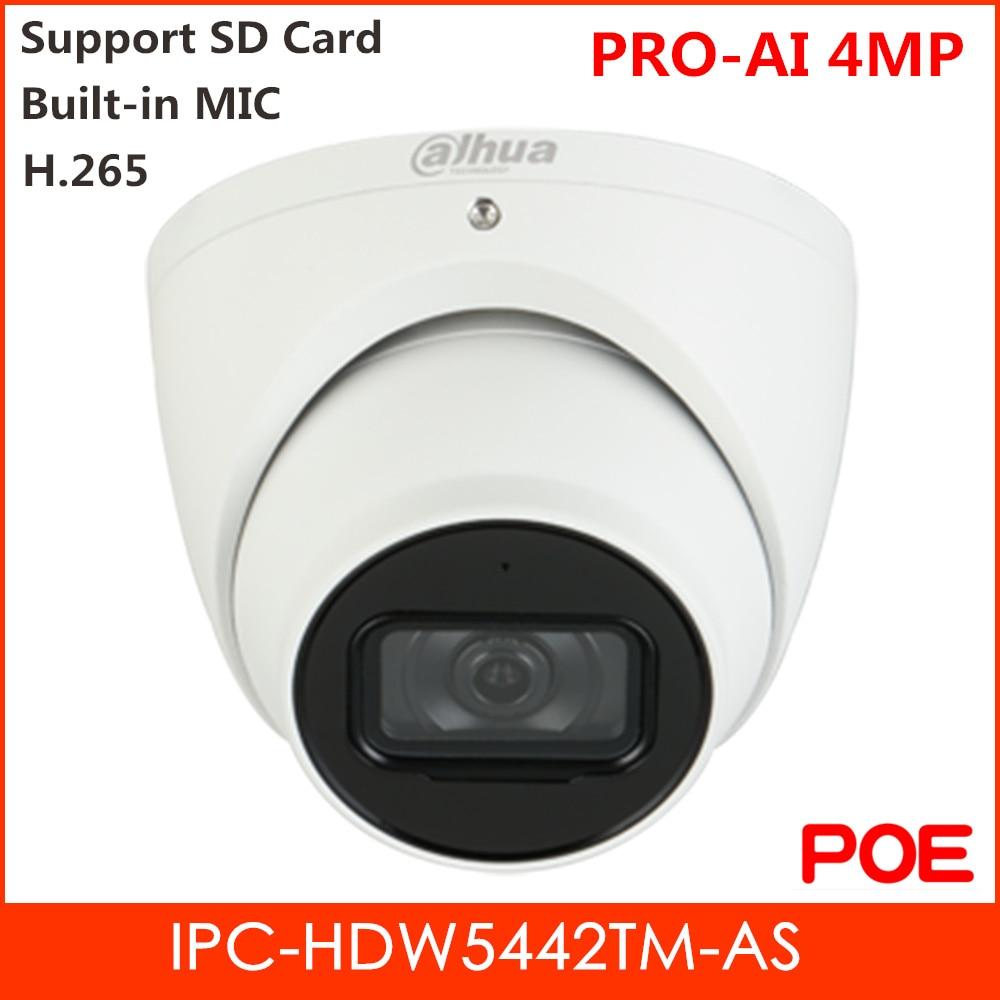 New Dahua IP Camera Waterproof Network Camera 4MP Built-in MIC 2.8mm 3.6mm 6mm Optional H.265 2 IR Leds POE IPC-HDW5442TM-AS