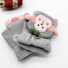 Зимние теплые Новорожденные, мальчики девочки дети густой мех мультфильм перчатки обезьяны
