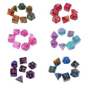 7pcs/set Dichromatic D4 D6 D8 D10 D12 D20 Polyhedral Dices Numbers Dials Desktop