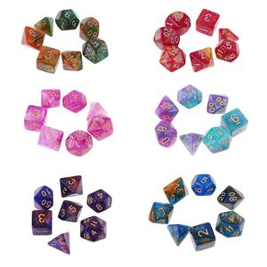7pcs/set Dichromatic D4 D6 D8 D10 D12 D20 Polyhedral Dices Numbers Dials Desktop