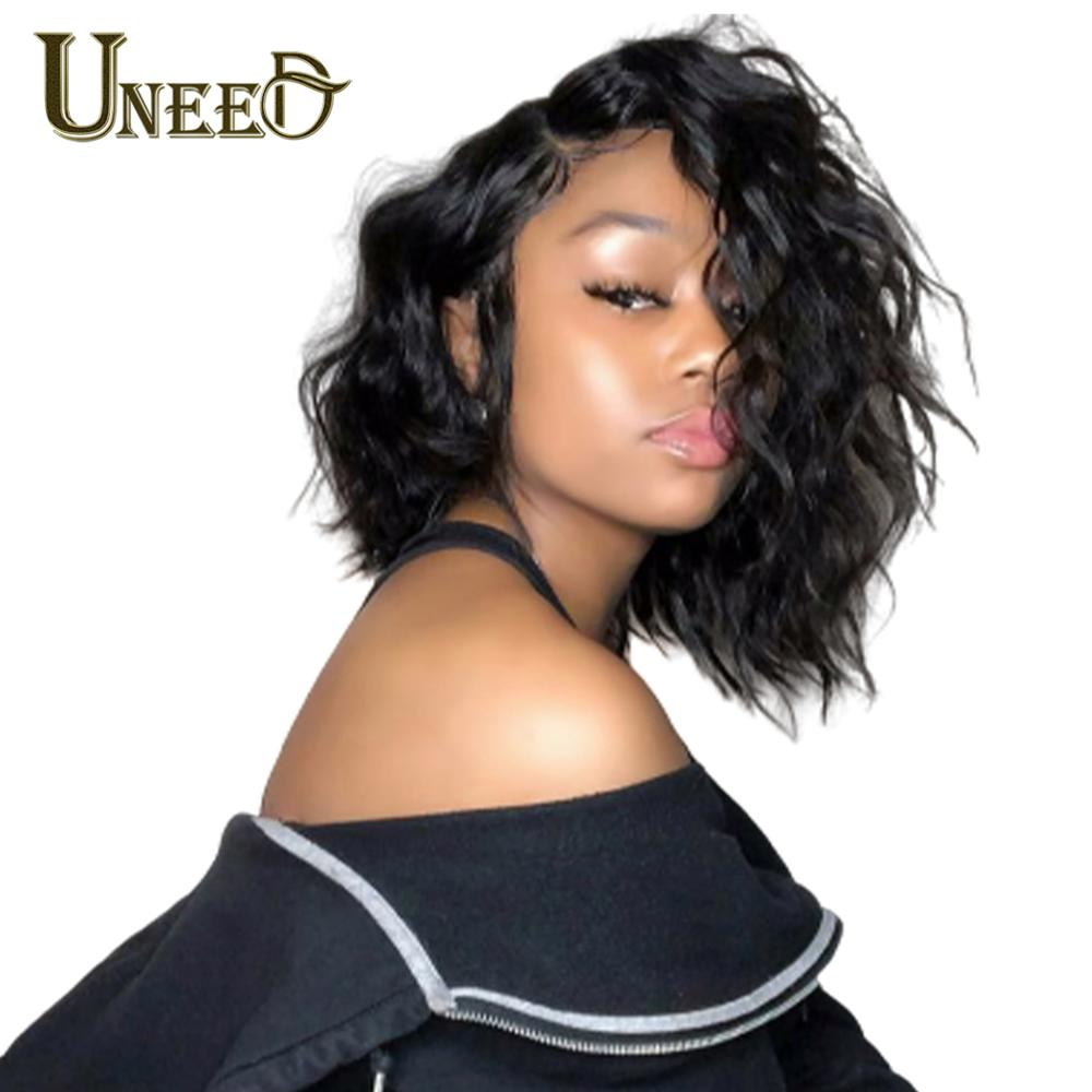 Uneed Short Lace Part Human Hair Wigs Non-Remy Lace Font Wigs Natural Wave Wigs For Black Women No Smell 8 Inch