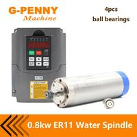 G penny 800W ER11 Water Cooled Spindle Motor Water Cooling & 1.5KW VFD Inverter Variable Frequency CNC Spindle Speed Control