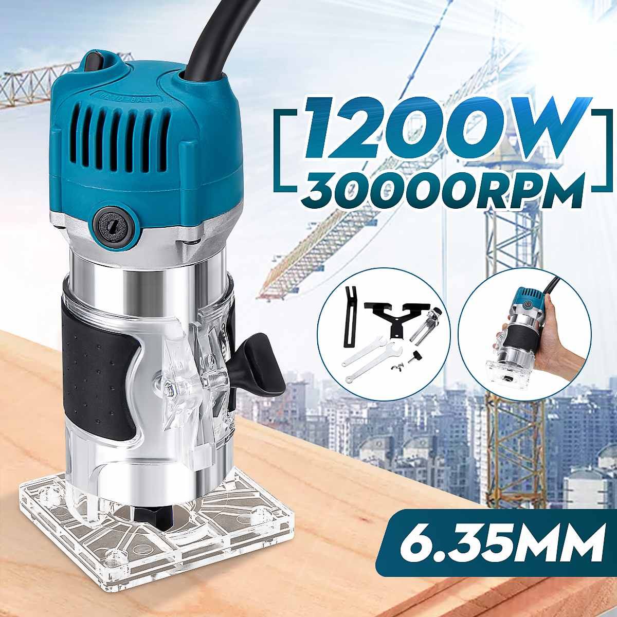 Electric Trimmer 1200W 30000r/min Electric Wood Laminate Edge Hand Trimmer Router Joiners Set Woodworking 6.35mm Collet Carving