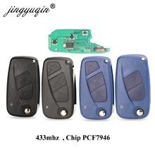 Jingyuqin 2 / 3 Tasten Flip Remote Key Delphi system 433mhz für FIAt 500 Punto Ducato Stilo Panda Bravo schlüssel ID46 PCF7946 / 7941 Chip