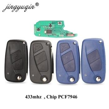 jingyuqin 2 / 3 Buttons Flip Remote Key Delphi 433mhz for FIAt 500 Punto Ducato Stilo Panda Bravo Key ID46 PCF7946 / 7941 Chip