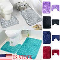 2pcs Flannel Toilet Lid Bath Rugs Soft Floor Home Anti Slip Liner Memory Foam Durable Cover Shower Carpets Bathroom Mat Set