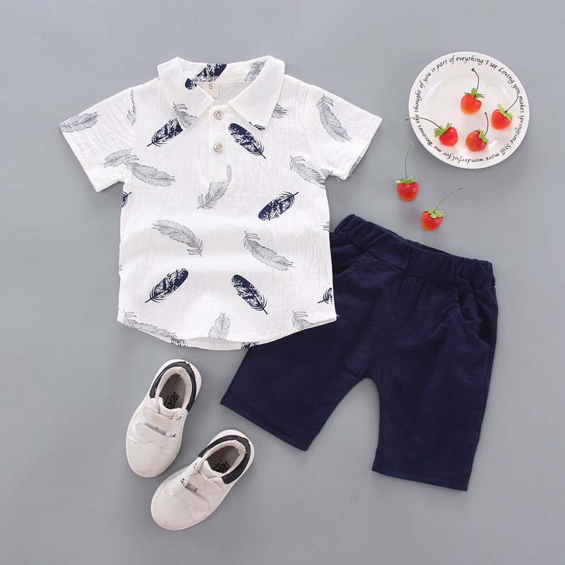 Summer Children Baby Boys Casual Short Sleeve Fur Print T shirt Tops Shorts Costume Set in Clothing Sets from Mother Kids