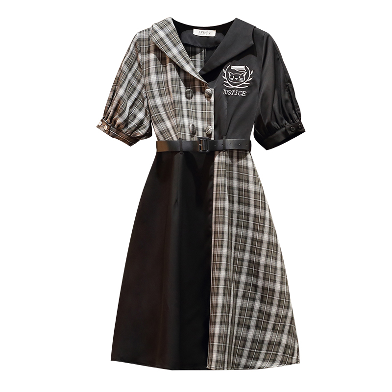 2020 Sunmer Clothes Women Vintage Elegant Black Plaid Party Dress Prom Large Plus Size 4XL Bodycon Wrap A Line Shirt Dress <font><b>Belt</b></font> image