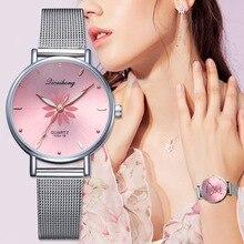 Hesiod Womens Wristwatches Luxury Silver Popular Pink Dial Flowers Metal Ladies Bracelet Quartz Clock Fashion Wrist Watch