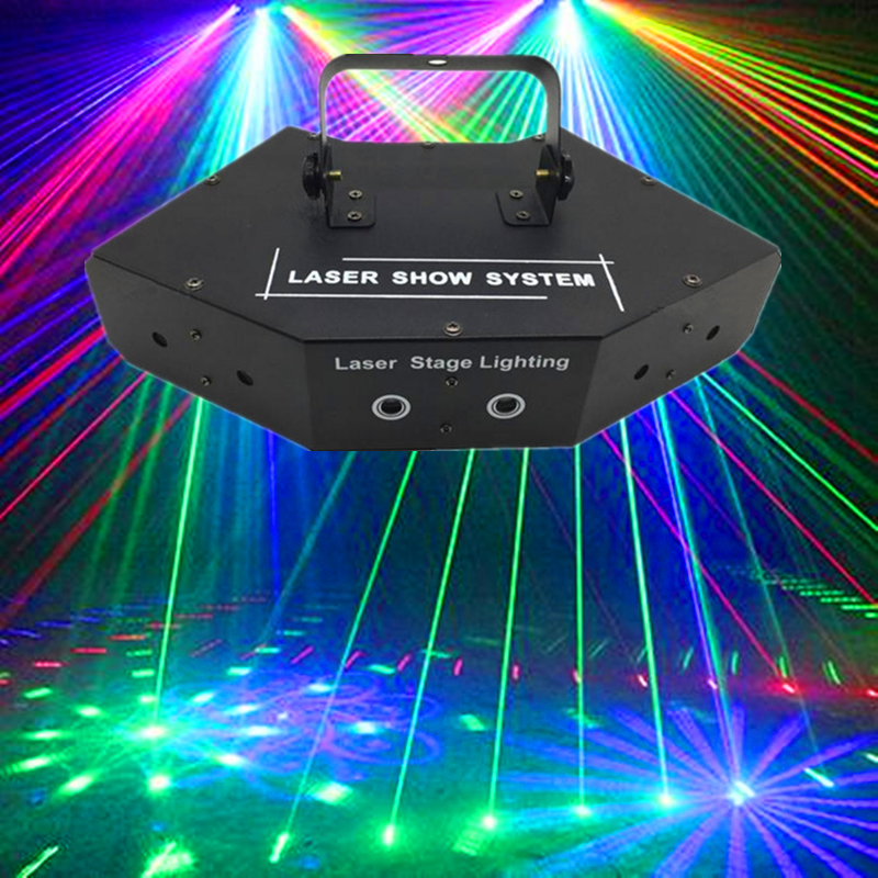 6 Lens RGB Laser Lines Beam Scans With Patterns DMX DJ Dance Bar Home Party Disco Effect Light System Show Laser Stage Lighting