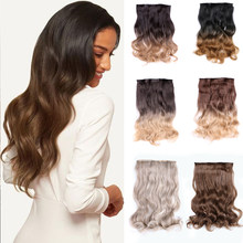 Queendom-Extensión de pelo con Clip, pelo Natural de fibra de peluquín falso de alta temperatura, largo y recto, color marrón y Rubio, 5 uds.