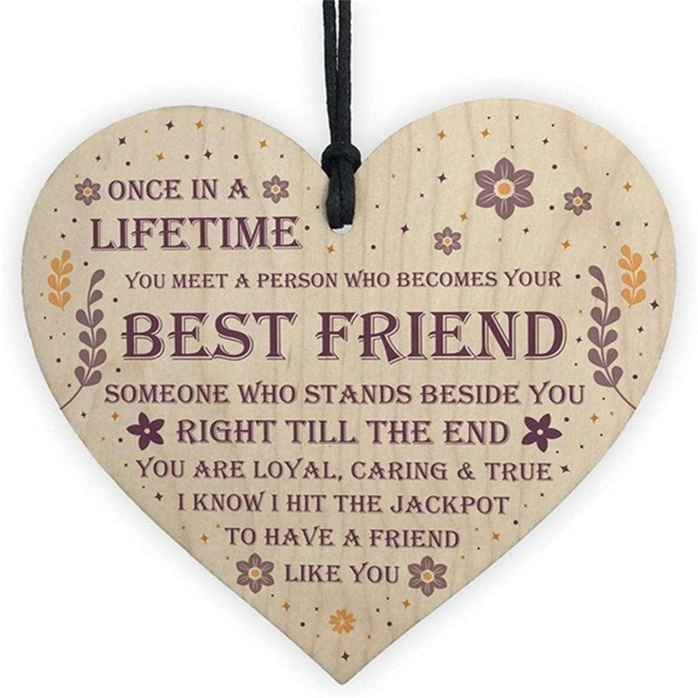 Wooden Heart Shaped Friendship Plaque Sign Crafts Ornament Pendant, Birthday/ Christmas/ Thanksgiving /easter Gift To Friend