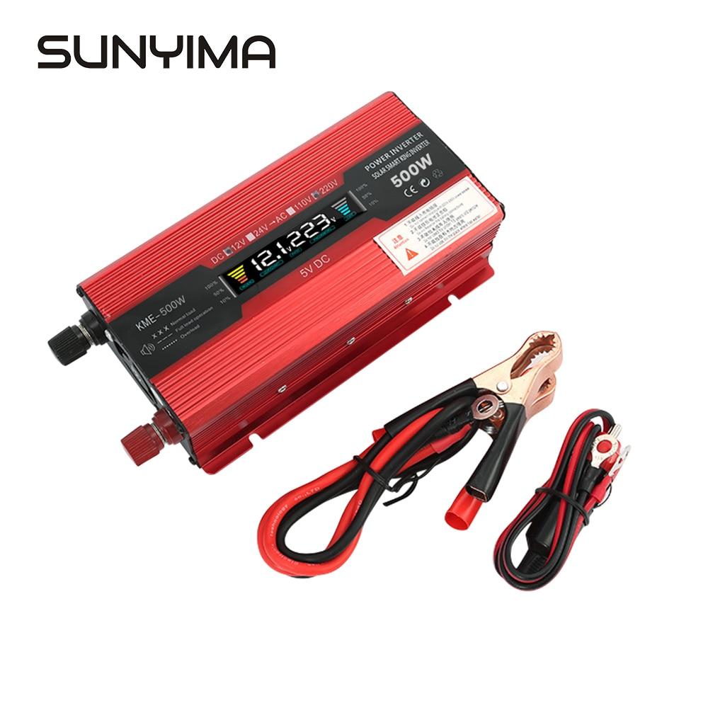 SUNYIMA 500W 12 V/24 V do 220 wielofunkcyjny falownik samochodowy wyświetlacz LCD Solar Charging konwerter usb inteligentna temperatura sterowania