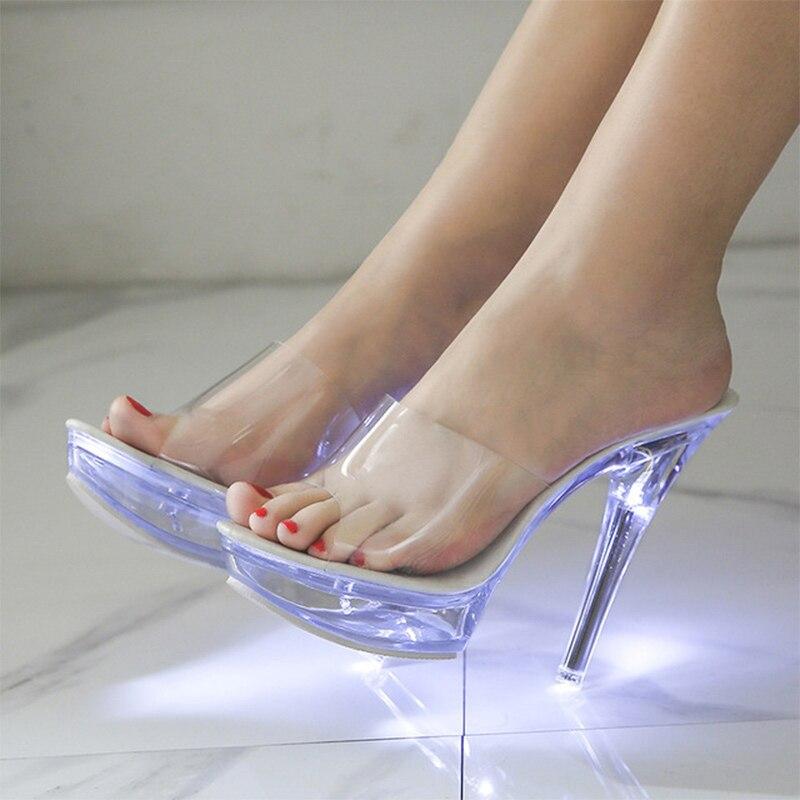 Sandals Women Light Up Summer Shoes Transparent High Heel Wedding Sandalias Elegant Ladies Fashion Female Clear Shoes 2020 New