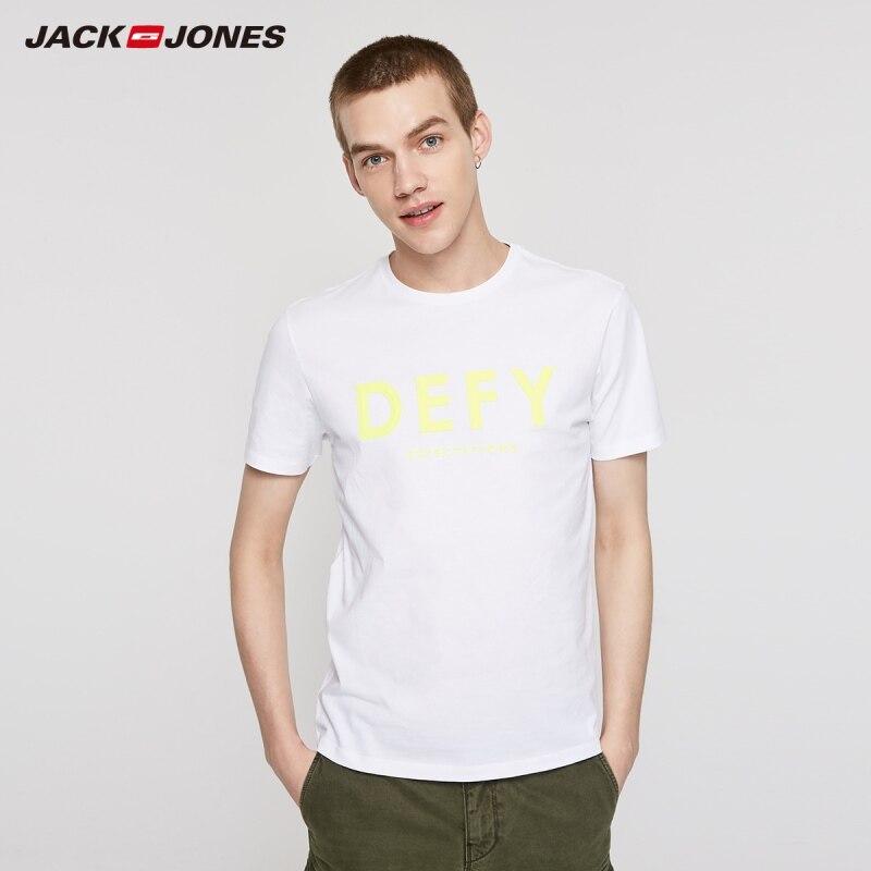 JackJones Men's 100% Cotton Letter Print Round Neckline Short-sleeved T-shirt Menswear Beach Style| 219201510