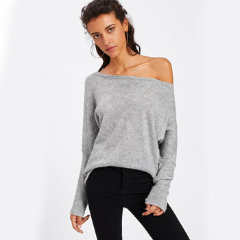 Womens One Off Shoulder Knit Sweater Loose Baggy Jumper Pullover Tops strappy open shoulder jumper