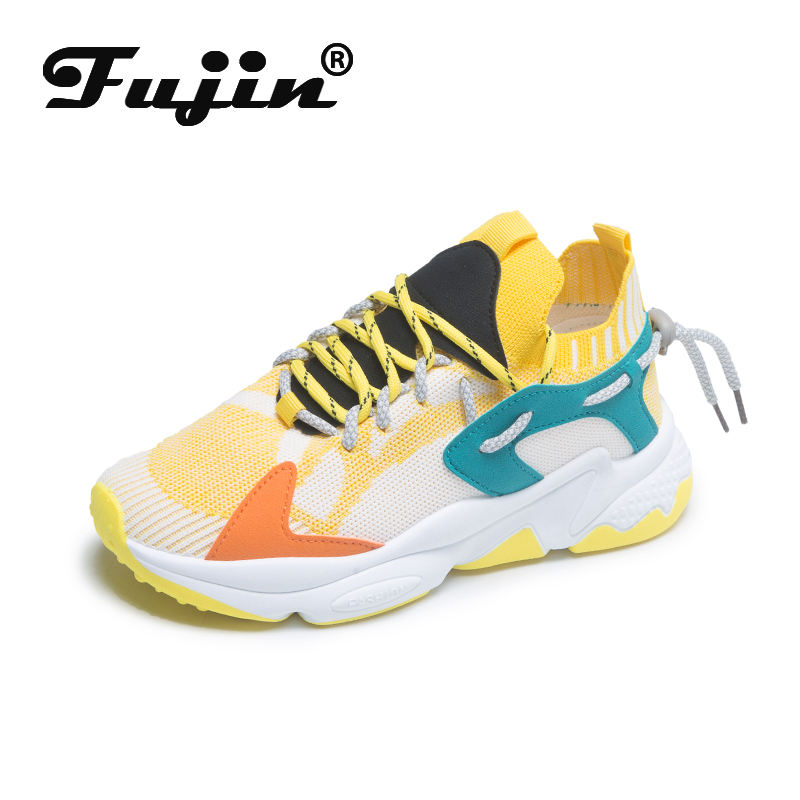 Fujin Sneakers Women 2020 Breathable Thick Bottom Causal Sneakers Spring Female Fashion Solid Lace Up Mesh Women Chunky Shoes