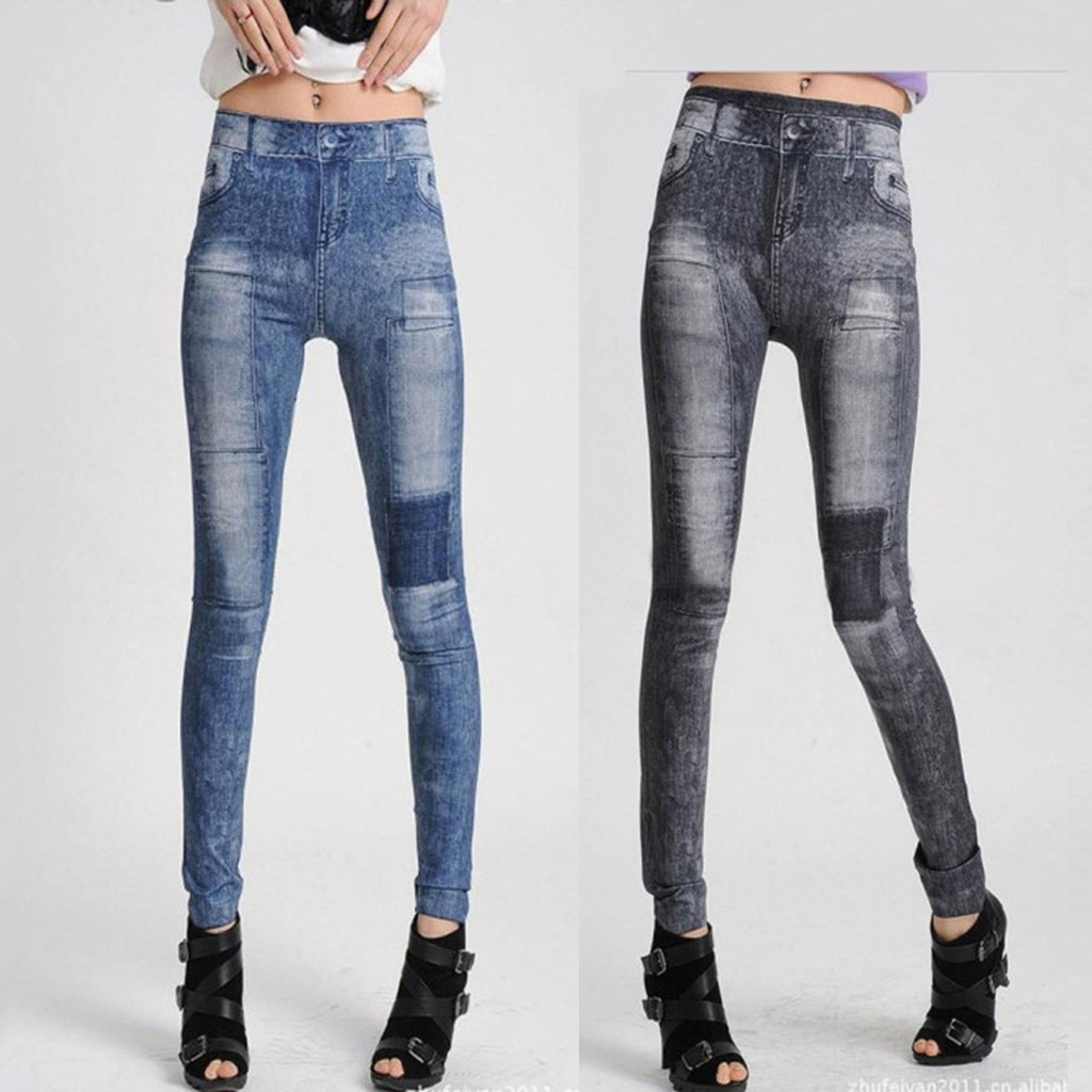 Fashion Women Casual Pants High Waist Stretch Clothes Patch Print Slim Leggings Winter 2019 Dropshipping Free Shipping Fashion W