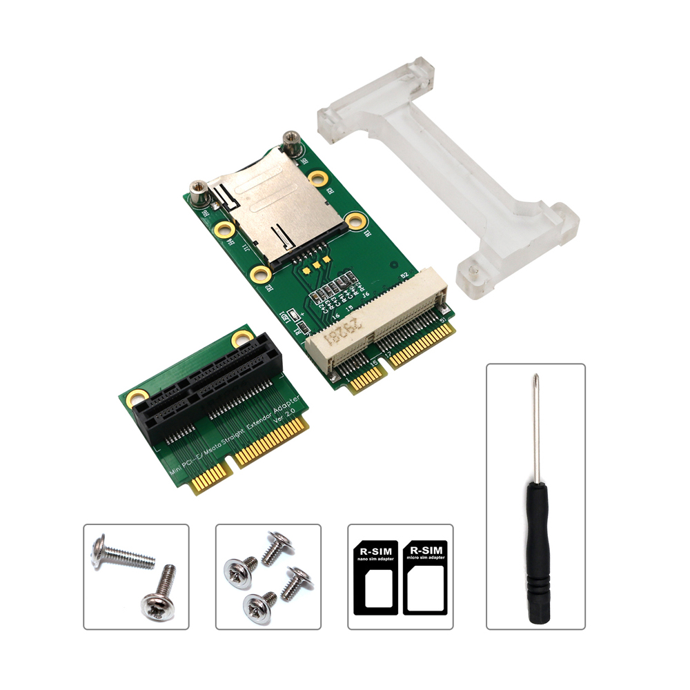 Network Card <font><b>Mini</b></font> <font><b>PCIE</b></font> Network Adapter Riser Card Vertical Mount for 3G 4G WWAN LTE <font><b>GPS</b></font> Network Module SIM Card Slot for Desktop image