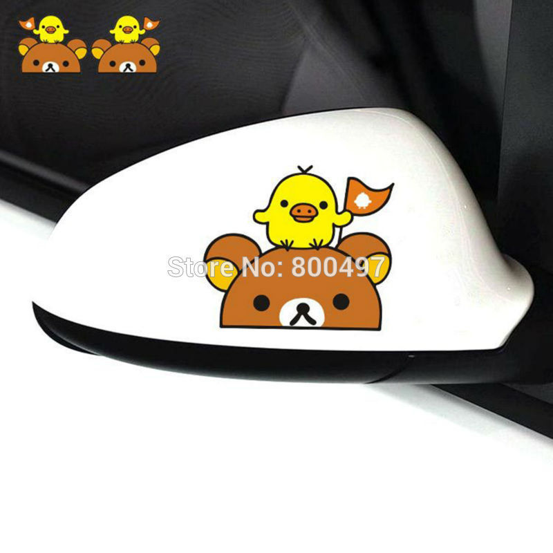 Newest Funny Cartoon Lovely Bear Rilakkuma Chicken Car Stickers For Tesla Toyota VW Toyota Chevrolet Honda Ford Audi Fiat Benz