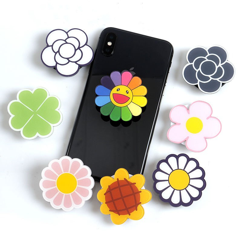 Flower Phone Holder Stretch Bracket Finger Stand Grip Strap Mobile Expanding Universal Cellphone Ring Stand For Iphone Samsung