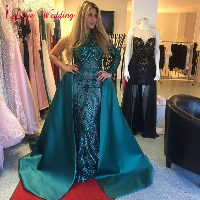 New Arrival Sexy One Shoulder Sequin Lace Formal Gown Custom made Dark Green Detachable Train Mermaid Evening Dresses Long