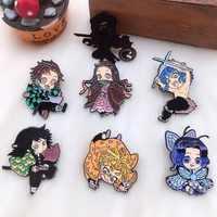 Hot Sale Anime Demon Slayer: Kimetsu no Yaiba Kamado Tanjirou Pin Button Rubber Brooch Badge