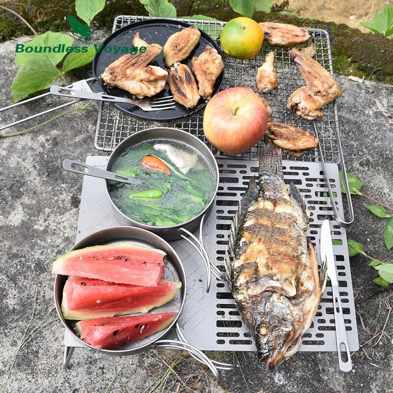Купить с кэшбэком Boundless Voyage Outdoor Ultralight Titanium Pot Pan Set  Titanium Cooking Pots Camping Cookware Ti1575B