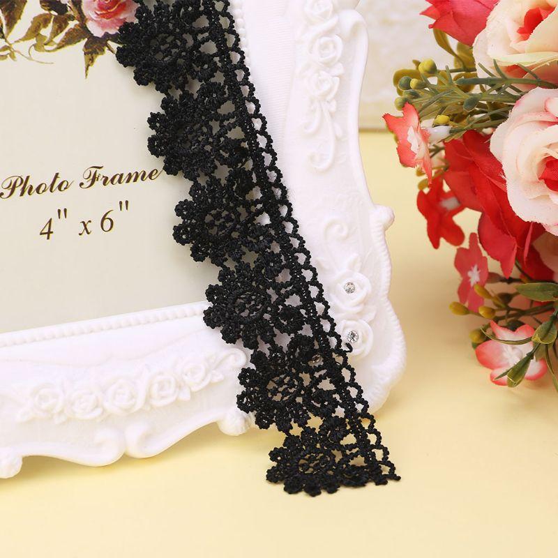 1 1 Yard 3/5/5.5/6cm Black Flower Pattern Embroidery Lace Applique Trim Wedding Bridal Dress DIY Sewing Clothing Decoration