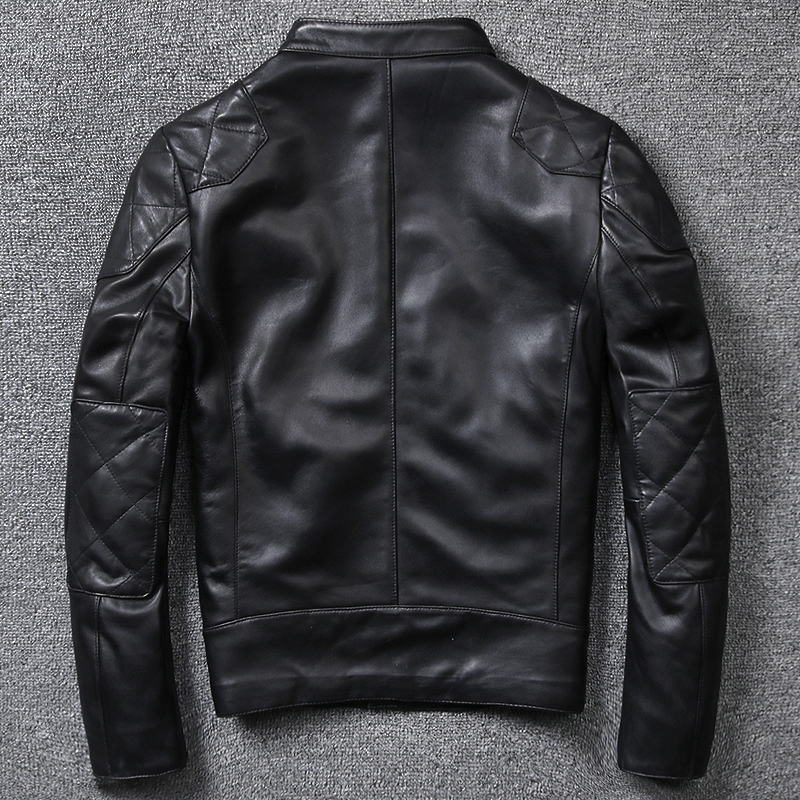 2020 Sheepskin Jacket Men's Slim Fit Motorcycle Clothing Fashion Stand Collar Short Black Genuine Leather Coat Male