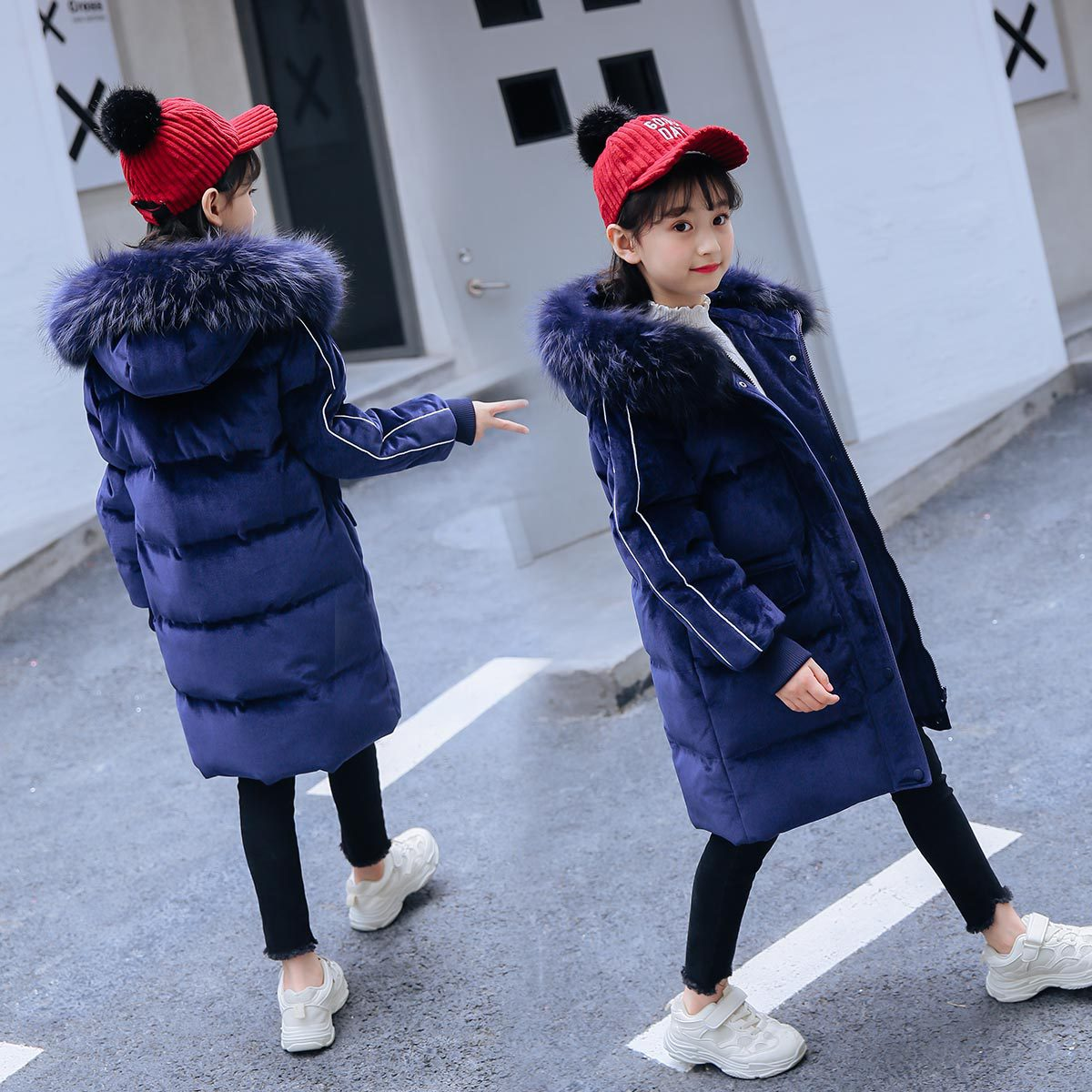 2019Children's Down Jacket Girls' Mid Long New Korean Children's Wear Girls' Middle And Big Children's Winter Coat