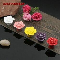 YUTOKO модные шкаф ручки натуральный с керамическими рукоятками, с цветочным принтом «розы» круглые ручки для ящиков в сельской местности меб...